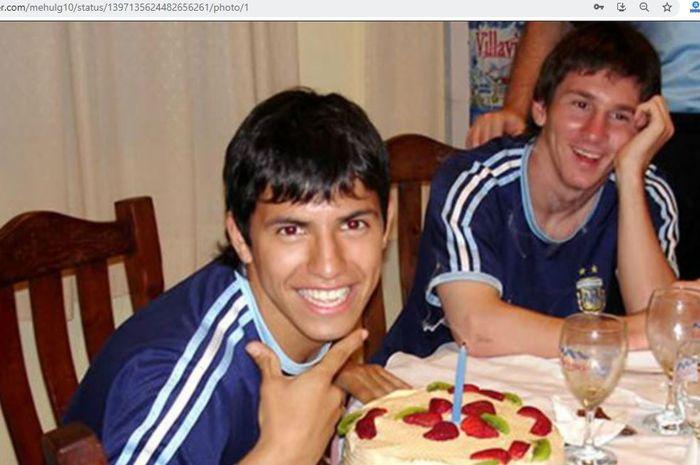 Potret Sergio Aguero (kiri) dan Lionel Messi (kanan) saat sama-sama membela timnas Argentina U-20.