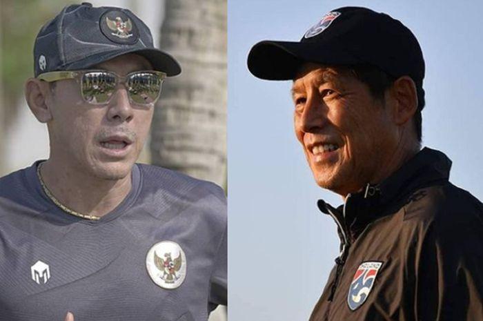 Shin Tae-yong (kiri) dan Akira Nishino (kanan) mendapat nasib yang berbeda meski sama-sama mengecewakan pada putaran kedua Kualifikasi Piala Dunia 2022.