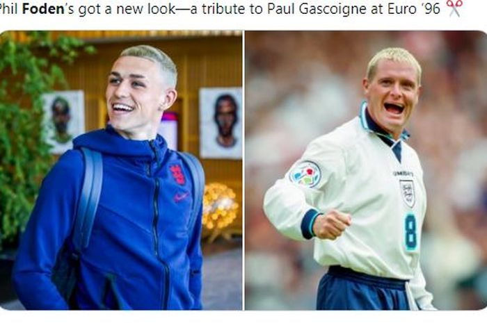 Gaya rambut baru bintang Timnas Inggris, Phil Foden, yang mirip dengan legenda Inggris, Paul Gascoigne.