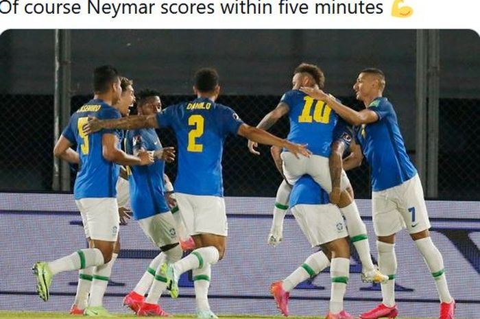 Neymar membawa timnas Brasil menjauhi Lionel Messi dkk di klasemen Kualifikasi Piala Dunia 2022 Zona Amerika Selatan.