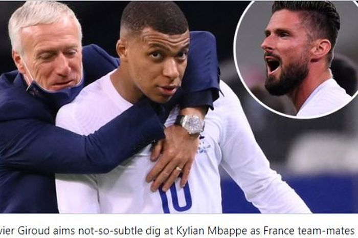 Kylian Mbappe dikabarkan marah kepada rekan setimnya di Timnas Prancis, Olivier Giroud usai dituduh tak mengoper bola.