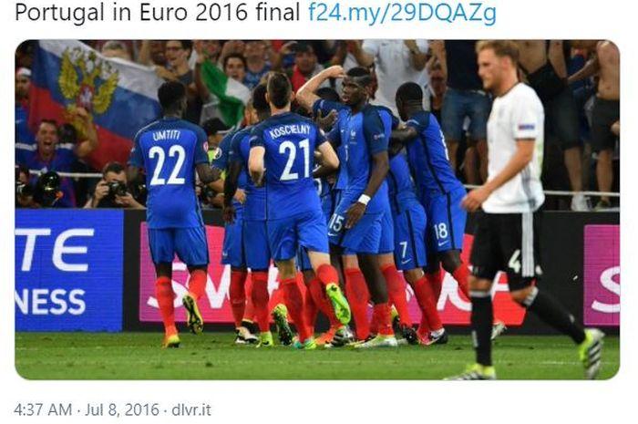 Momen pemain timnas Prancis merayakan gol yang mereka cetak ke gawang timnas Jerman dalam pertandingan semifinal EURO 2016.