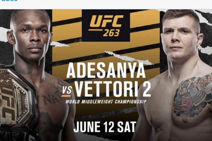 Poster pertandingan laga utama duel perebutan gelar juara kelas menengah antara Israel Adesanya vs Marvin Vettori di UFC 263 pada 12 Juni mendatang.