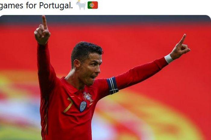 Cuma megabintang timnas Portugal, Cristiano Ronaldo, yang bisa, mencetak gol free-kick ke gawang di beda stadion.
