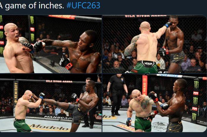 Kolase foto duel Israel Adesanya vs Marvin Vettori pada ajang UFC 263, Minggu (13/6/2021).