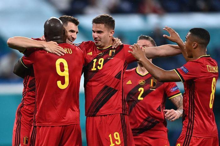timnas Belgia rayakan kemanangan atas timnas Rusia