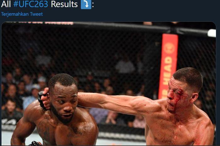 Momen ketika Leon Edwards (kiri) dan Nate Diaz (kanan) saat menjual beli pukulan pada ajang UFC 263, Minggu (13/6/2021).