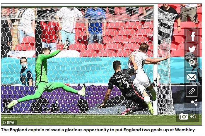 Harry Kane gagal memanfaatkan peluang emas menjadi gol dalam laga Inggris vs Kroasia padaGrup D Euro 2020 di Wembley, 13 Juni 2021.