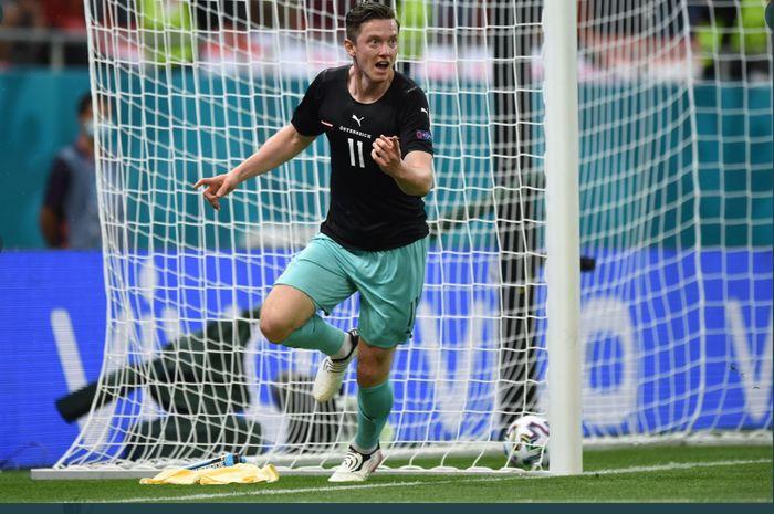 Michael Gregoritsch, mencetak gol ke-700 Piala Eropa dalam laga Austria vs Makedonia Utara di Grup C EURO 2020, Minggu (13/6/2021) di Bukares.