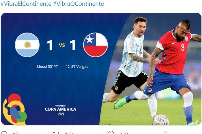 Laga Argentina vs Cile di Copa America 2021, Senin (14/6/2021) berakhir imbang.