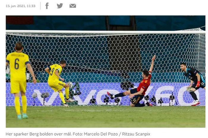 Penyerang timnas Swedia, Marcus Berg, gagal jebol gawang Spanyol dalam laga Grup E Euro 2020, 14 Juni 2021.