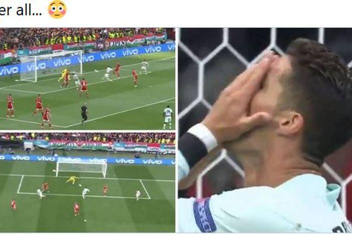 Kapten timnas Portugal, Cristiano Ronaldo juga manusia, grup neraka pada EURO 2020 memakan korban pada Selasa (15/6/2021).