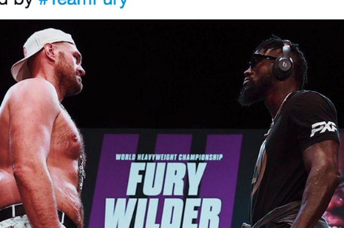 Tyson Fury (kiri) dan Deontay Wilder (kanan) saat sesi tatap muka usai konferensi pers duel, di Las Vegas, Amerika Serikat, Rabu (16/6/2021).