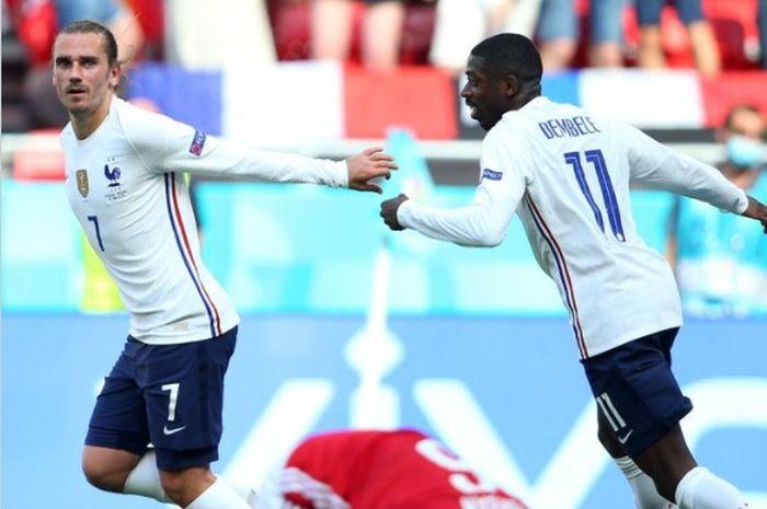 Pemain timnas Prancis, Antoine Griezmann (kiri) dan Ousmane Dembele (kanan).