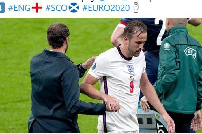 Pelatih timnas Inggris, Gareth Southgate, mengganti Harry Kane dalam laga Grup D EURO 2020 kontra timnas Skotlandia di Stadion Wembley, Jumat (18/6/2021).