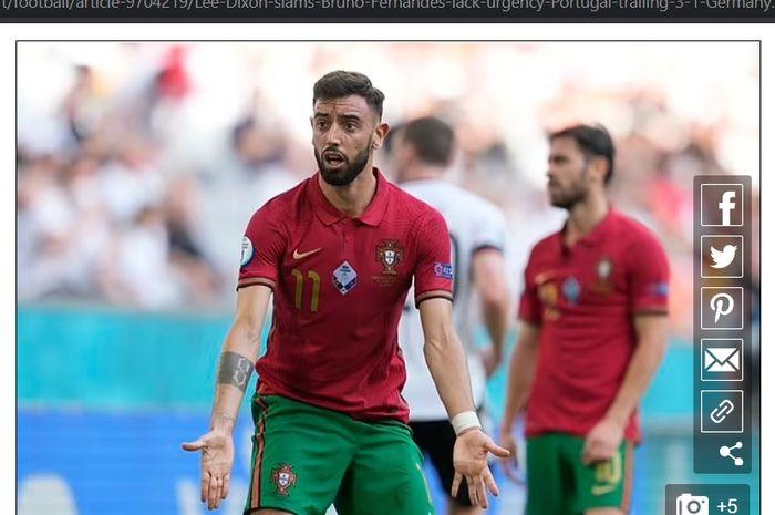 Ekspresi Bruno Fernandes dalam laga Portugal vs Jerman, Sabtu (19/6/2021) malam WIB.