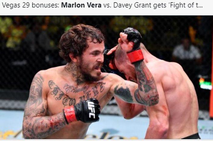 Duel Marlon Vera vs Davey Grant di UFC Vegas 29, Minggu (20/6/2021) WIB.