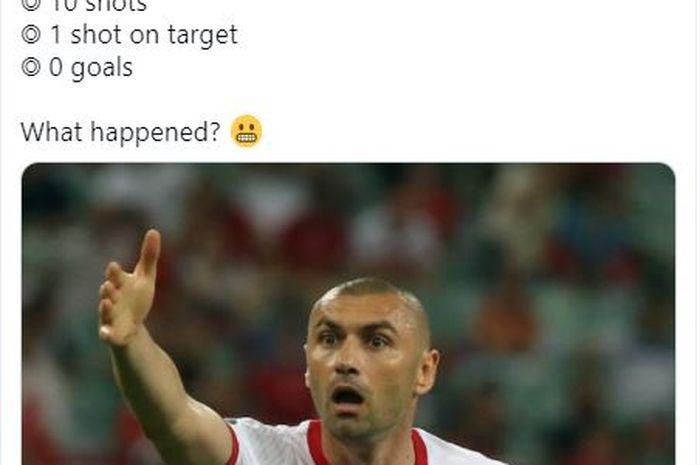 Ekspresi kekecewaan striker Turki, Burak Yilmaz dalam laga melawan Swiss di matchday ketiga grup A EURO 2020, di Stadion Olympia Baku, Minggu (20/6/2021).