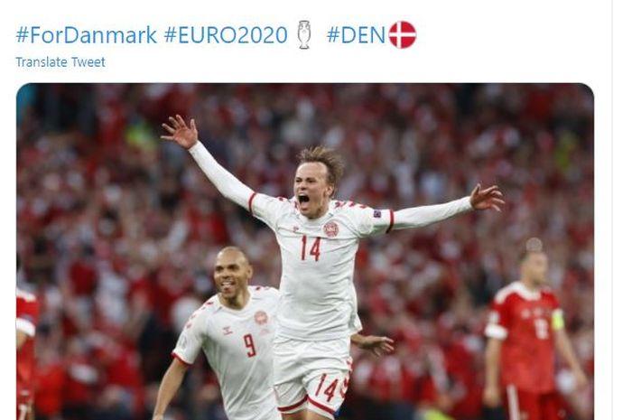 Selebrasi winger Denmark, Mikkel Damsgaard usai menang 4-1 atas Rusia di laga terakhir grup B EURO 2020, Senin (21/6/2021).