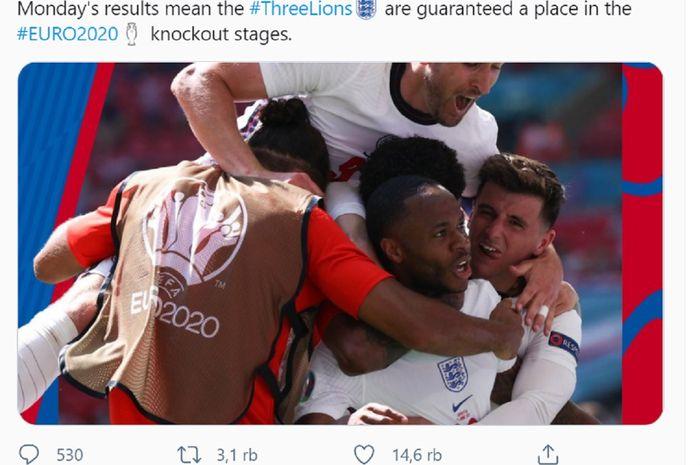 Timnas Inggris lolos ke babak 16 besar Euro 2020 tanpa keringat alias tak perlu melakoni laga terakhirnya kontra Ceska berkat kekalahan Finlandia dan Ukraina.