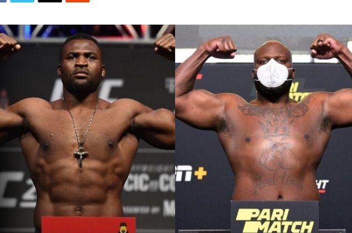 Foto dua jagoan kelas berat UFC Francis Ngannou (kiri) dan Derrick Lewis (kanan)