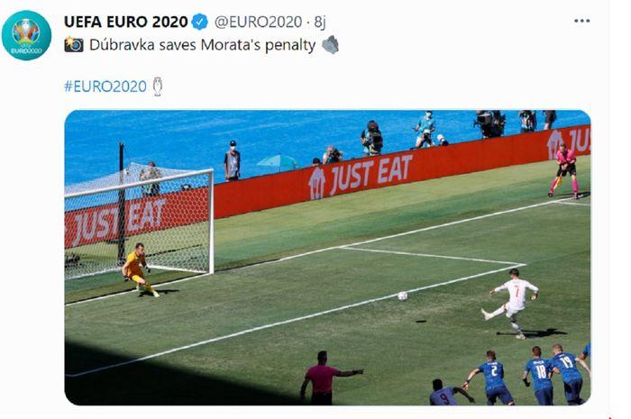 Striker Spanyol Alvaro Morata gagal dalam eksekusi penalti setelah dimentahkan kiper Slovakia Martin Dubravka dalam laga terakhir Grup E Euro 2020 di Stadion La Cartuja, Sevilla, Rabu (23/6/2021) malam WIB.