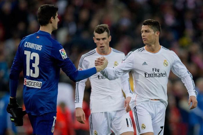 Momen Cristiano Ronaldo dan Thibaut Courtois saling bertemu di Liga Spanyol.