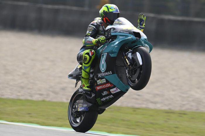 Pembalap Petronas Yamaha SRT, Valentino Rossi, pada hari kedua MotoGP Belanda 2021 di Sirkuit Assen, Sabtu (26/1/2021).