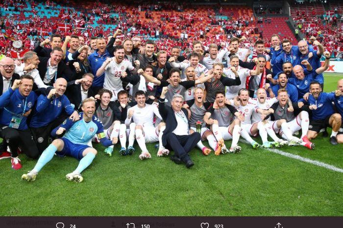 Denmark, merayakan kemenangan 4-0 atas Wales untuk lolos ke babak perempat final EURO 2020.