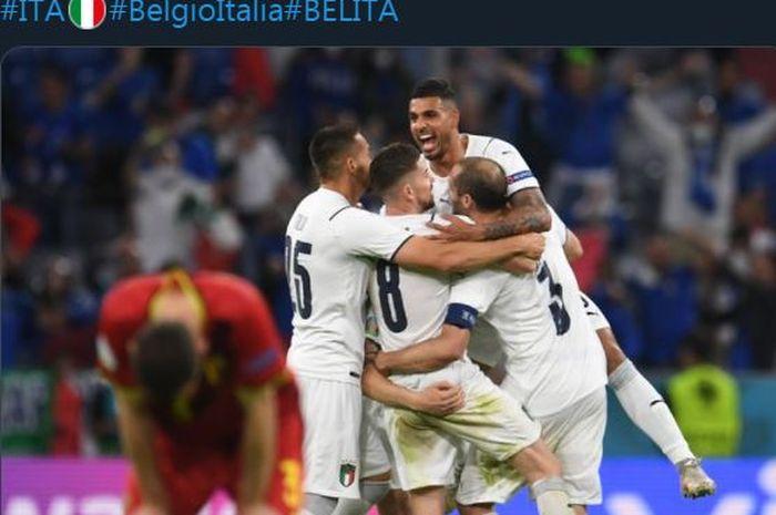 Timnas Italia menekuk Belgia di perempat final Euro 2020, 2 Juli 2021.