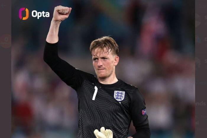 Kiper timnas Inggris, Jordan Pickford, tak kebobolan sampai perempat final Euro 2020.