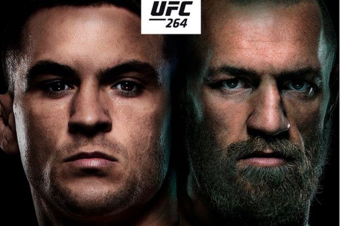 Poster pertandingan trilogi Dustin Poirer vs Conor McGregor di acara utama UFC 264 pada 10 Juli mendatang.
