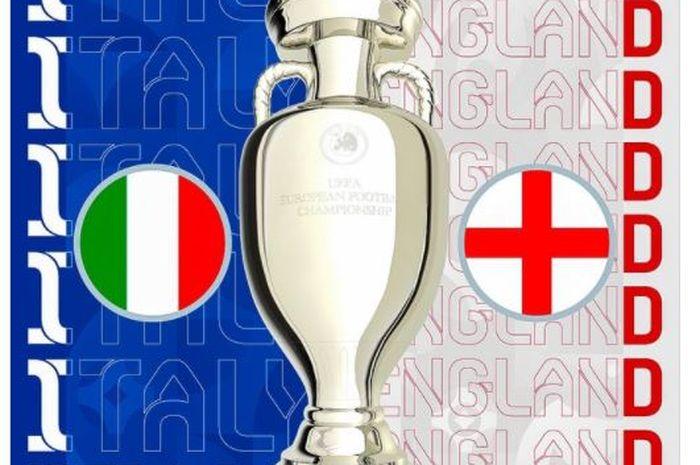 Ilustrasi final EURO 2020 yang mempertemukan timnas Italia dengan timnas Inggris.