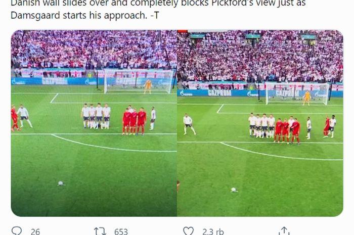 Inilah situasi yang terjadi ketika pemain Denmark akan melakukan free-kick ke gawang Inggris dalam semifinal Euro 2020 di Stadion Wembley, London, Rabu (7/7/2021) malam waktu setempat atau Kamis dini hari WIB.