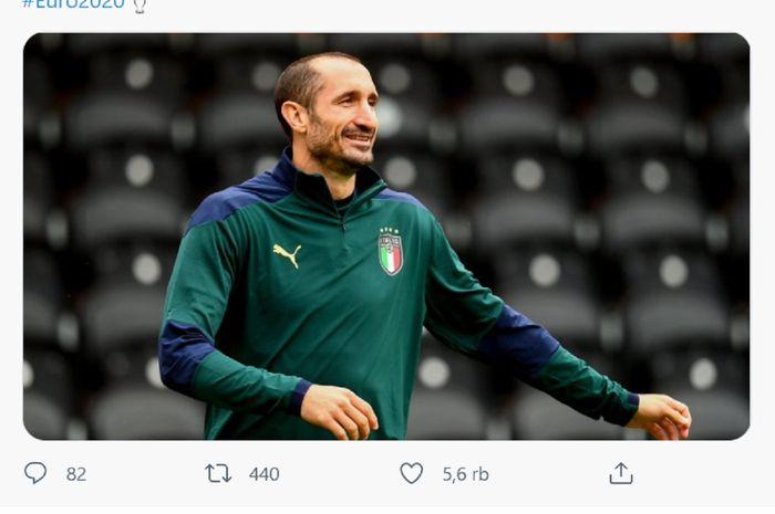Kapten Timnas Italia Giorgio Chiellini siap meladei Inggris, yang sangat diuntungkan oleh tempat bertanding, di final Euro 2020.