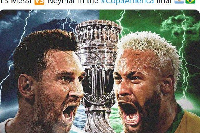 Striker timnas Argentina, Lionel Messi, dan penyerang timnas Brasil, Neymar.