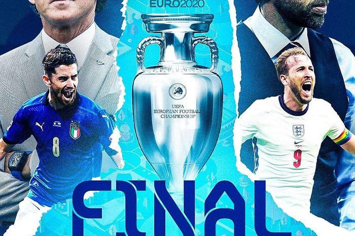 Link live streaming final EURO 2020 Timnas Italia vs Inggris di Stadion Wembley pada Minggu (11/7/2021) atau Senin pukul 02.00 WIB. (Image Source: @mytruefootball)