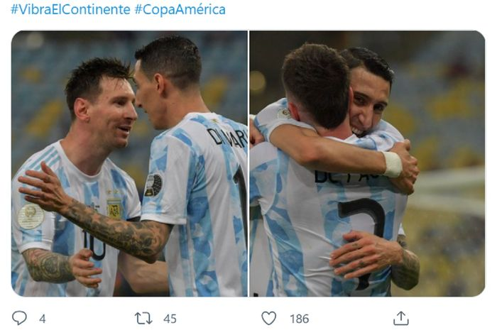 Angel Di Maria selebrasi dengan Lionel Messi usai mencetak gol dalam final Copa America 2021 Argentina versus Brasil di Stadion Maracana, Rio de Janeiro, Minggu (11/7/2021) pagi WIB.