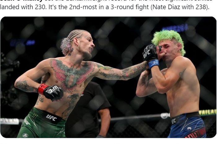 Duel Sean O'Malley vs Kris Moutinho dalam laga UFC 264, Minggu (11/7/2021) WIB di Las Vegas.