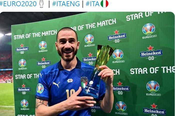 Bek timnas Italia, Leonardo Bonucci, terpilih menjadi Man of the Match usai mengalahkan timnas Inggris dalam laga final EURO 2020 di Stadion Wembley, Minggu (11/7/2021).