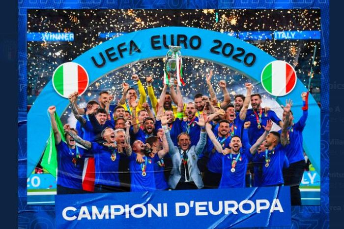 Timnas Italia juara Euro 2020 usai menekuk Inggris pada final di Wembley, London, 11 Juli 2021.