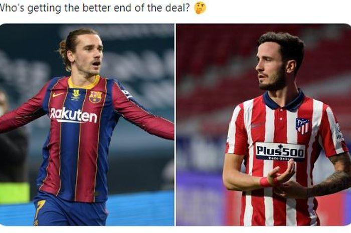 Satu hal ini menjadi kendala kesepakatan Barter Barcelona dan Atletico Madrid untuk Antoine Grizmann dan Saul Niguez.