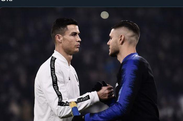 Cristiano Ronaldo bersalaman dengan Mauro Icardi dalam duel Juventus vs Inter Milan.