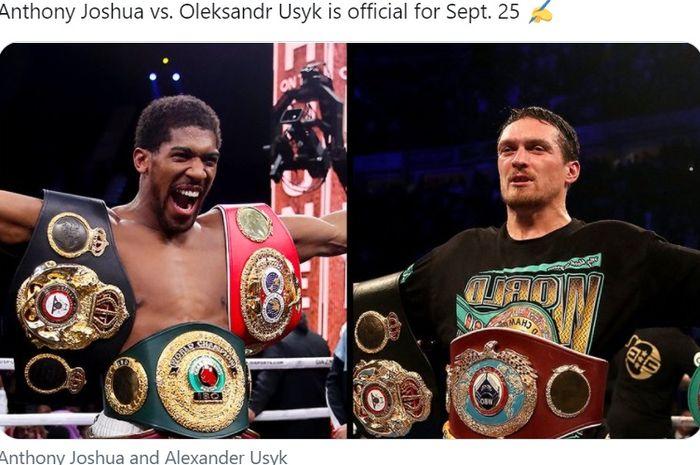 Anthony Joshua resmi akan bertarung dengan Oleksandr Usyk pada 25 September 2021 di London.