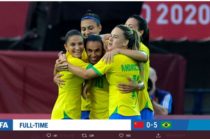 Brasil membuka Olimpiade 2020 cabor sepak bola wanita dengan kemenangan atas China di Rifu, 21 Juli 2021.