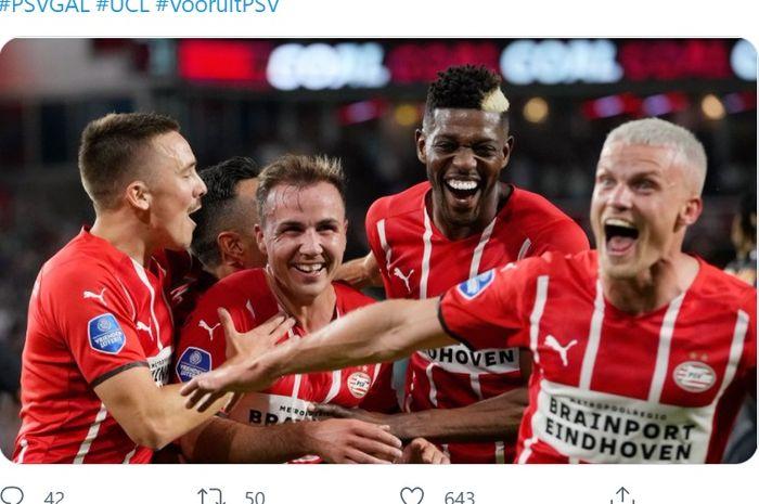 Mario Goetze, membawa PSV Eindhoven menang telak 5-1 atas Galatasaray pada leg 1 Kualifikasi II Liga Champions, Rabu (21/7/2021) di Philips Stadion.