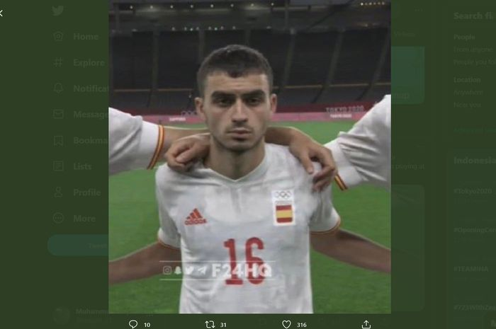Wonderkid Barcelona, Pedri, memperlihatkan raut muka kelelahan dalam laga pekan pertama Olimpiade 2020 cabang olahraga sepak bola, Kamis (22/7/2021).
