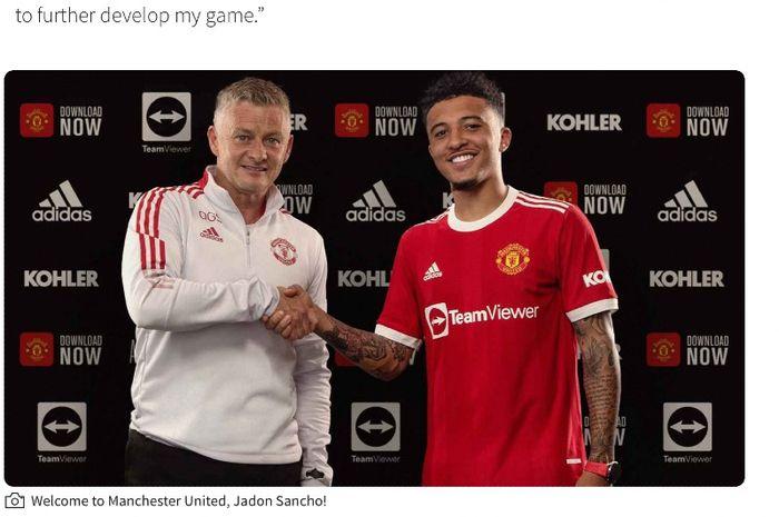 Pelatih Manchester United, Ole Gunnar Solskjaer, membeberkan alasan dibalik dirinya merekrut Jadon Sancho.