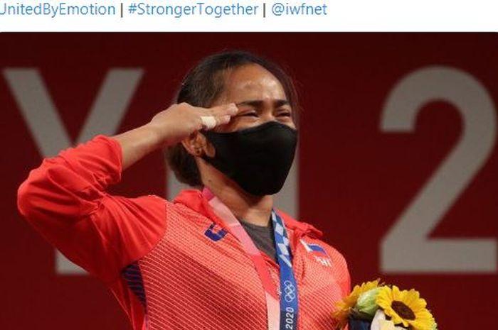Atlet angkat besi putri Filipina, Hidilyn Diaz, meraih medali emas pertama bagi Filipina sepanjang sejarah Olimpiade.