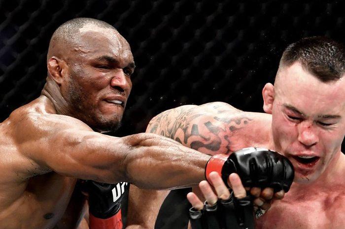Duel pertama Kamaru Usman vs Colby Covington di UFC 245, 14 Desember 2019.